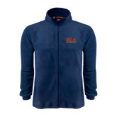 Fleece Full Zip Navy Jacket-Greek Letters Stacked