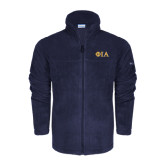Columbia Full Zip Navy Fleece Jacket-Official Greek Letters Two Color
