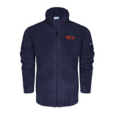 Columbia Full Zip Navy Fleece Jacket-Official Greek Letters Two Color