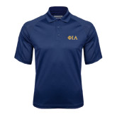 Navy Textured Saddle Shoulder Polo-Official Greek Letters Two Color