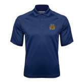 Navy Textured Saddle Shoulder Polo-Crest