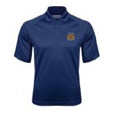 Navy Textured Saddle Shoulder Polo-Crest