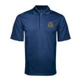 Navy Mini Stripe Polo-Crest