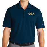 Nike Golf Dri Fit Navy Micro Pique Polo-Official Greek Letters Two Color