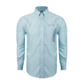 Mens Light Blue Oxford Long Sleeve Shirt-Official Greek Letters Two Color