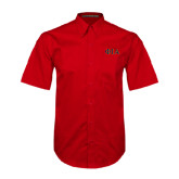 Red Twill Button Down Short Sleeve-Official Greek Letters Two Color