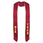 Red Graduation Stole w/White Trim-Greek Letters Tackle Twill Stacked