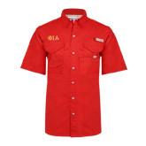 Columbia Bonehead Red Short Sleeve Shirt-Official Greek Letters Two Color