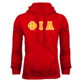 Red Fleece Hoodie-Greek Letters Tackle Twill Flat