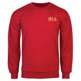 Red Fleece Crew-Greek Letters Stacked