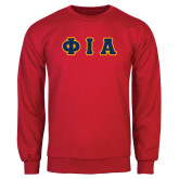 Red Fleece Crew-Greek Letters Tackle Twill Flat