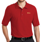 Red Easycare Pique Polo-Official Greek Letters Two Color