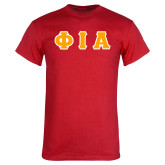 Red T Shirt-Greek Letters Tackle Twill Flat