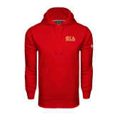 Under Armour Red Performance Sweats Team Hoodie-Greek Letters Stacked