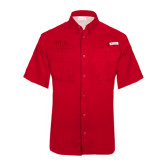 Columbia Tamiami Performance Red Short Sleeve Shirt-Official Greek Letters Two Color