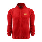Fleece Full Zip Red Jacket-Official Greek Letters Two Color