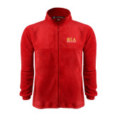 Fleece Full Zip Red Jacket-Greek Letters Stacked