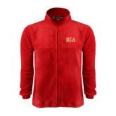 Fleece Full Zip Red Jacket-Greek Letters Stacked