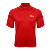 Red Textured Saddle Shoulder Polo-Official Greek Letters Two Color