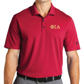 Nike Golf Dri Fit Red Micro Pique Polo-Official Greek Letters Two Color