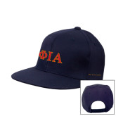 Navy Flat Bill Snapback Hat-Official Greek Letters Two Color