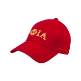 Red Heavyweight Twill Pro Style Hat-Official Greek Letters Two Color