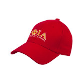 Red Heavyweight Twill Pro Style Hat-Greek Letters Stacked