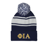 Navy/White Two Tone Knit Pom Beanie w/Cuff-Official Greek Letters Two Color