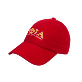 Red Twill Unstructured Low Profile Hat-Greek Letters Stacked