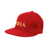 Red OttoFlex Flat Bill Pro Style Hat-Official Greek Letters Two Color
