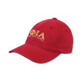 Red OttoFlex Unstructured Low Profile Hat-Greek Letters Stacked
