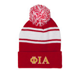 Red/White Two Tone Knit Pom Beanie with Cuff-Official Greek Letters Two Color