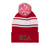 Red/White Two Tone Knit Pom Beanie w/Cuff-Official Greek Letters Two Color
