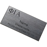 Brushed Silver w/ Black Name Badge-Greek Letters Stacked Engraved