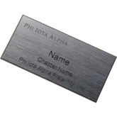 Brushed Silver w/ Black Name Badge-Wordmark Flat Engraved