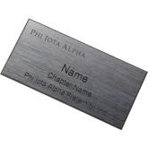 Brushed Silver w/ Black Name Badge-Wordmark Flat Engraved