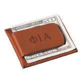 Cutter & Buck Chestnut Money Clip Card Case-Official Greek Letters Two Color Engraved
