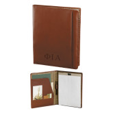 Cutter & Buck Chestnut Leather Writing Pad-Official Greek Letters Two Color Debossed