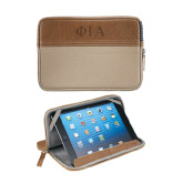 Field & Co. Brown 7 inch Tablet Sleeve-Official Greek Letters Two Color Engraved