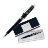 Cross Aventura Onyx Black Ballpoint Pen-Official Greek Letters Two Color Engraved