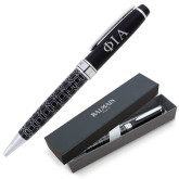 Balmain Black Statement Roller Ball Pen w/Blue Ink-Official Greek Letters Two Color Engraved