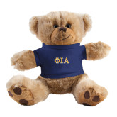 Plush Big Paw 8 1/2 inch Brown Bear w/Navy Shirt-Official Greek Letters Two Color
