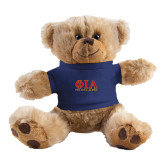 Plush Big Paw 8 1/2 inch Brown Bear w/Navy Shirt-Greek Letters Stacked
