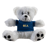 Plush Big Paw 8 1/2 inch White Bear w/Navy Shirt-Official Greek Letters Two Color