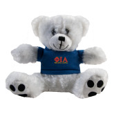 Plush Big Paw 8 1/2 inch White Bear w/Navy Shirt-Greek Letters Stacked