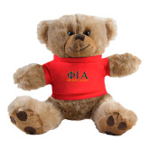 Plush Big Paw 8 1/2 inch Brown Bear w/Red Shirt-Greek Letters Stacked