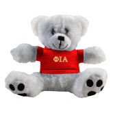 Plush Big Paw 8 1/2 inch White Bear w/Red Shirt-Official Greek Letters Two Color