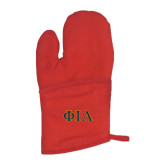 Quilted Canvas Red Oven Mitt-Official Greek Letters Two Color