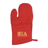 Quilted Canvas Red Oven Mitt-Greek Letters Stacked