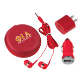 3 in 1 Red Audio Travel Kit-Greek Letters Stacked
